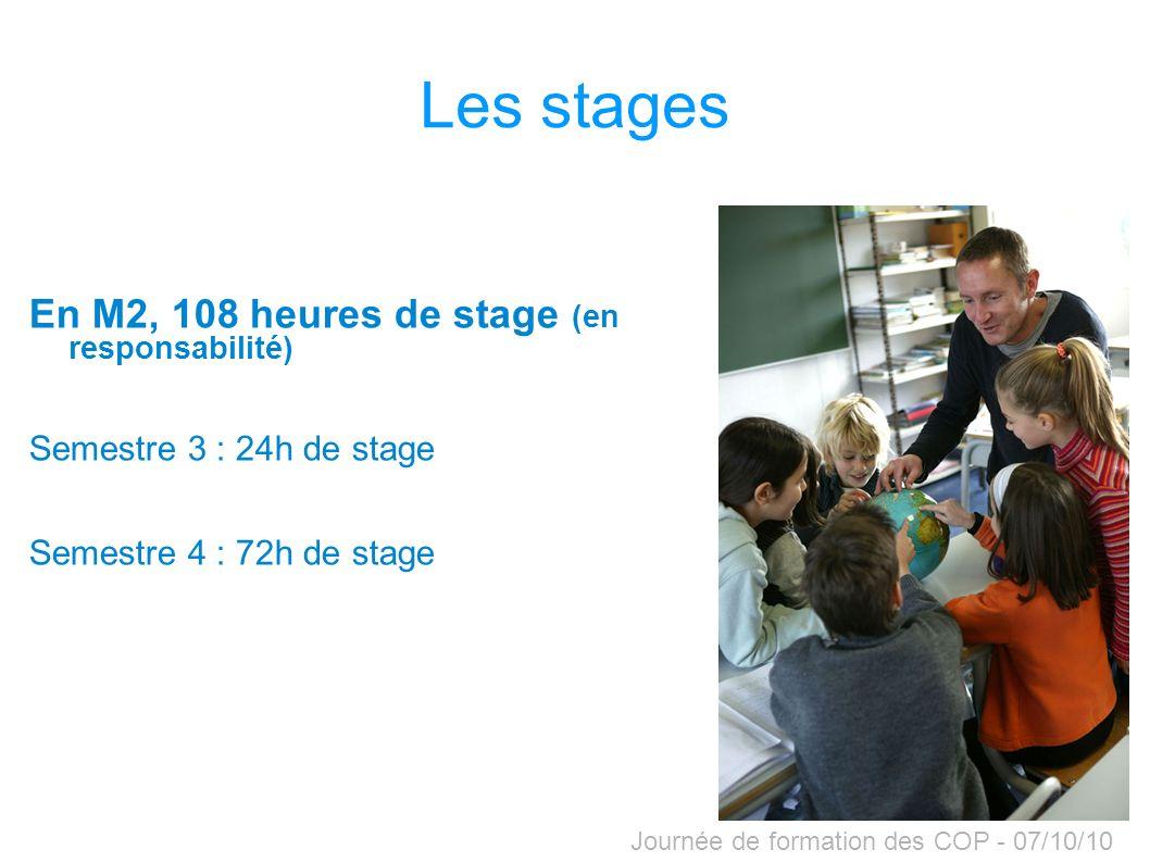 Les stages En M2, 108 heures de stage (en responsabilité)