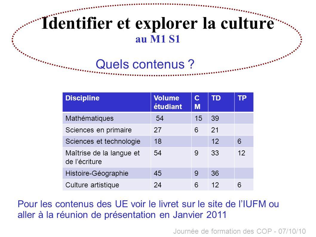 Identifier et explorer la culture au M1 S1