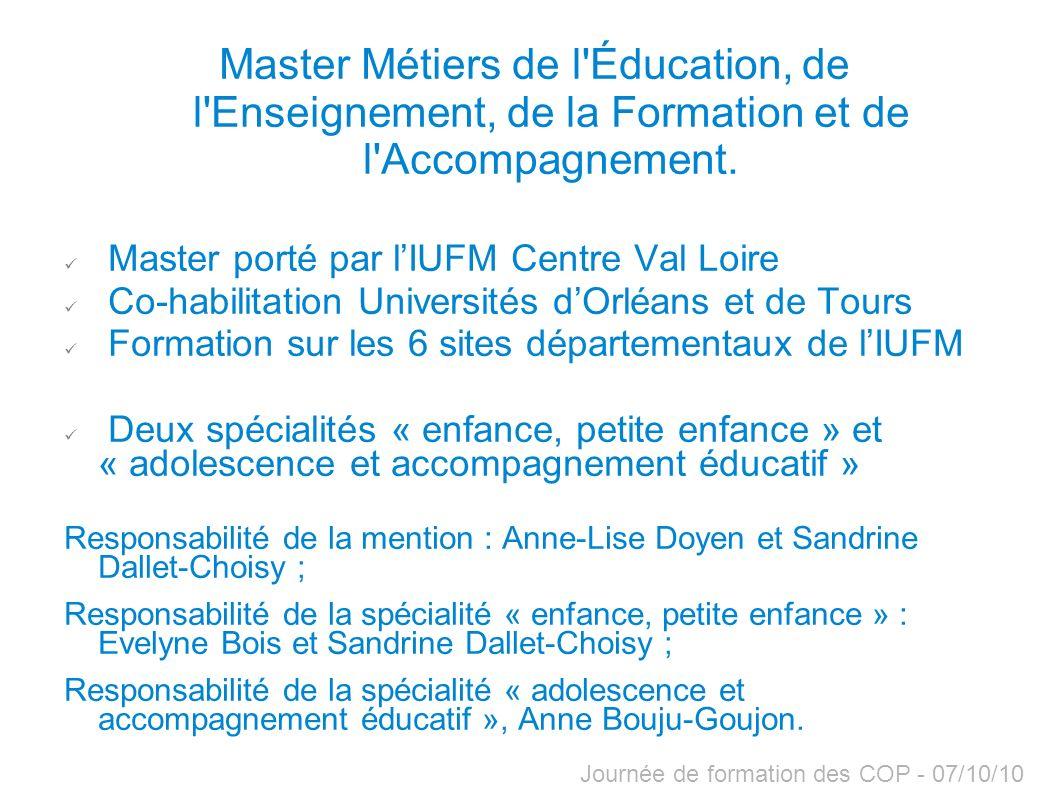 Master Métiers de l Éducation, de l Enseignement, de la Formation et de l Accompagnement.