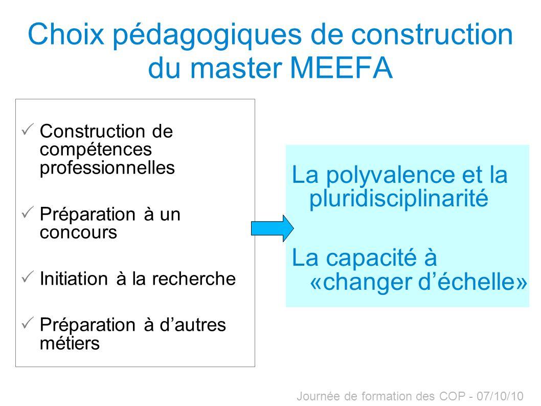 Choix pédagogiques de construction du master MEEFA