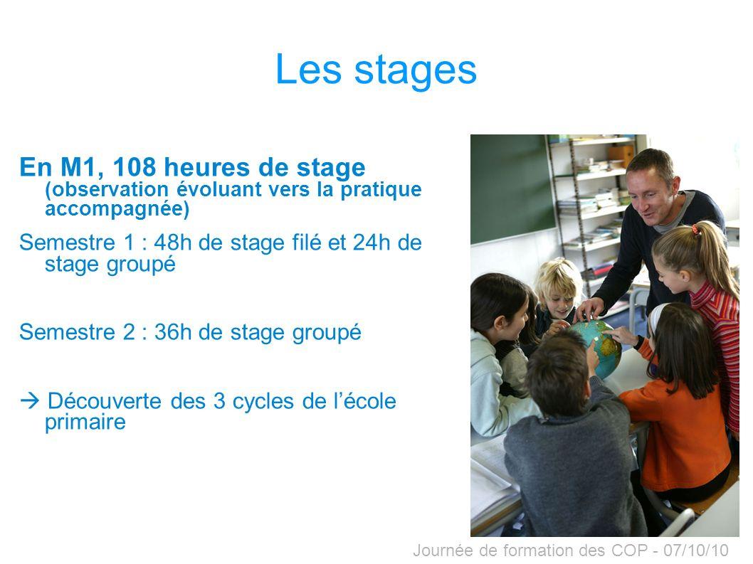 Les stages En M1, 108 heures de stage (observation évoluant vers la pratique accompagnée) Semestre 1 : 48h de stage filé et 24h de stage groupé.