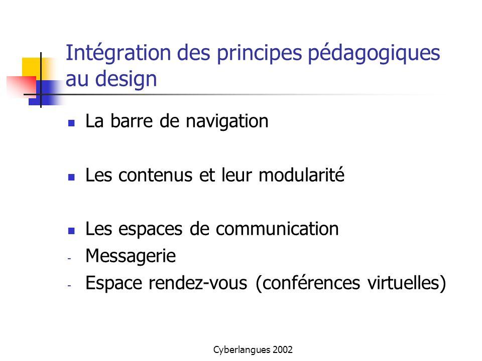 Intégration des principes pédagogiques au design