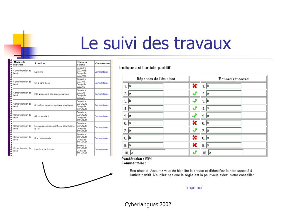 Le suivi des travaux Cyberlangues 2002