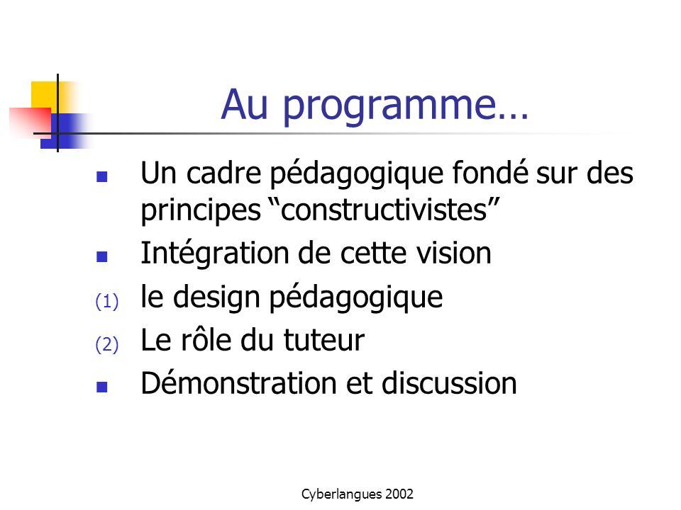 Au programme… Un cadre pédagogique fondé sur des principes constructivistes Intégration de cette vision.