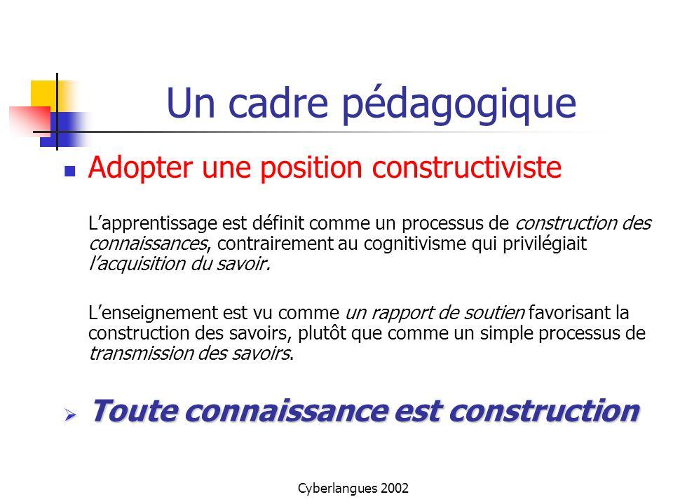 Un cadre pédagogique Adopter une position constructiviste
