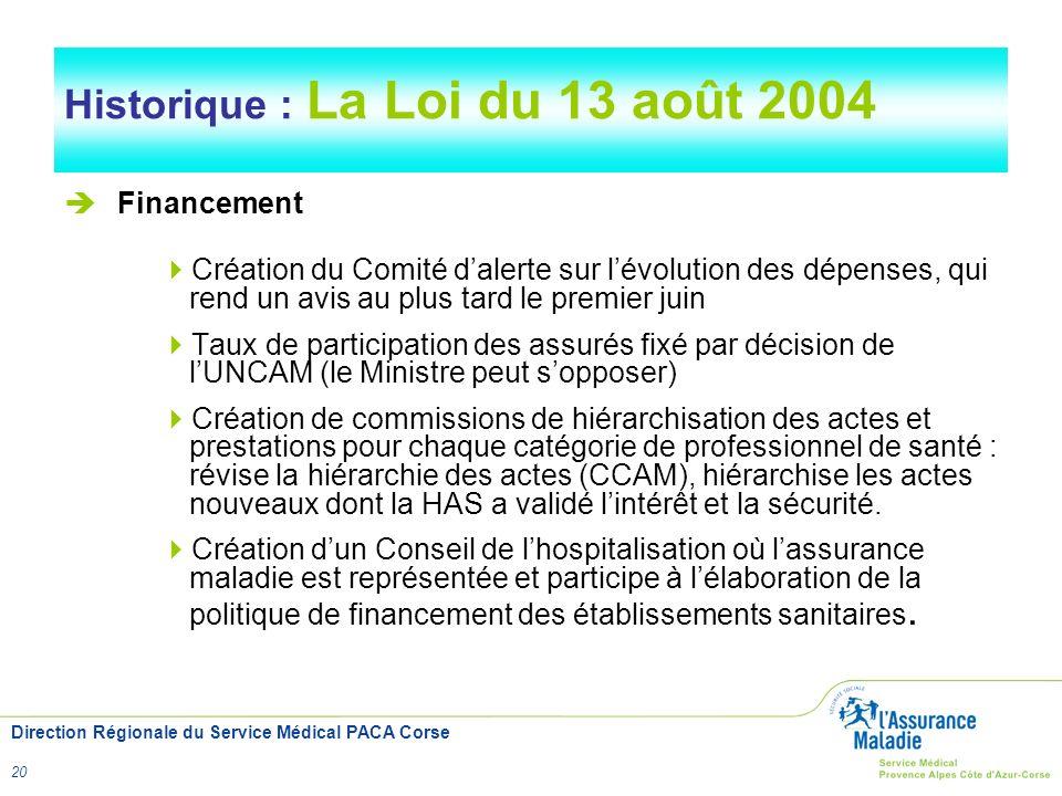 Historique : La Loi du 13 août 2004