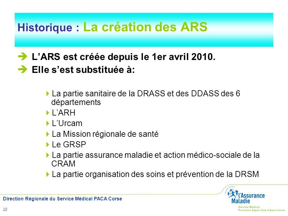 Historique : La création des ARS