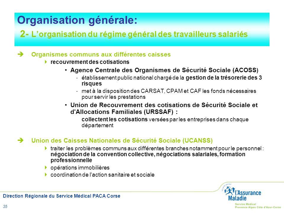 Organisation générale: 2- L'organisation du régime général des travailleurs salariés