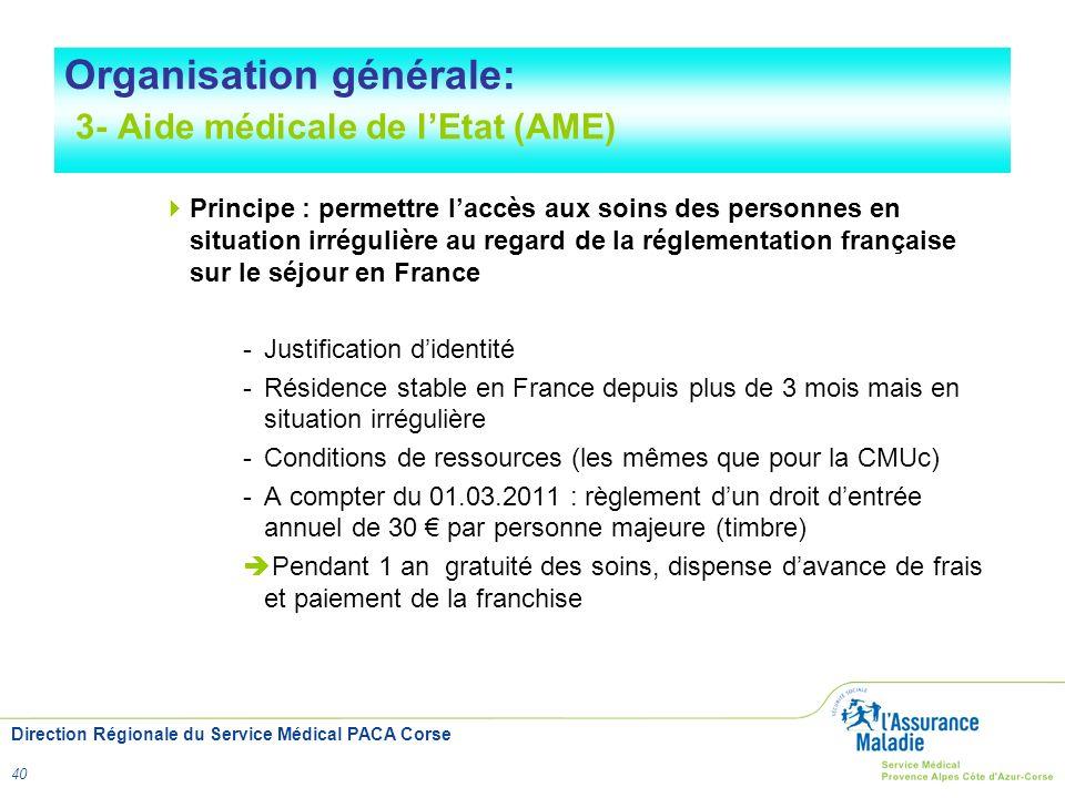 Organisation générale: 3- Aide médicale de l'Etat (AME)