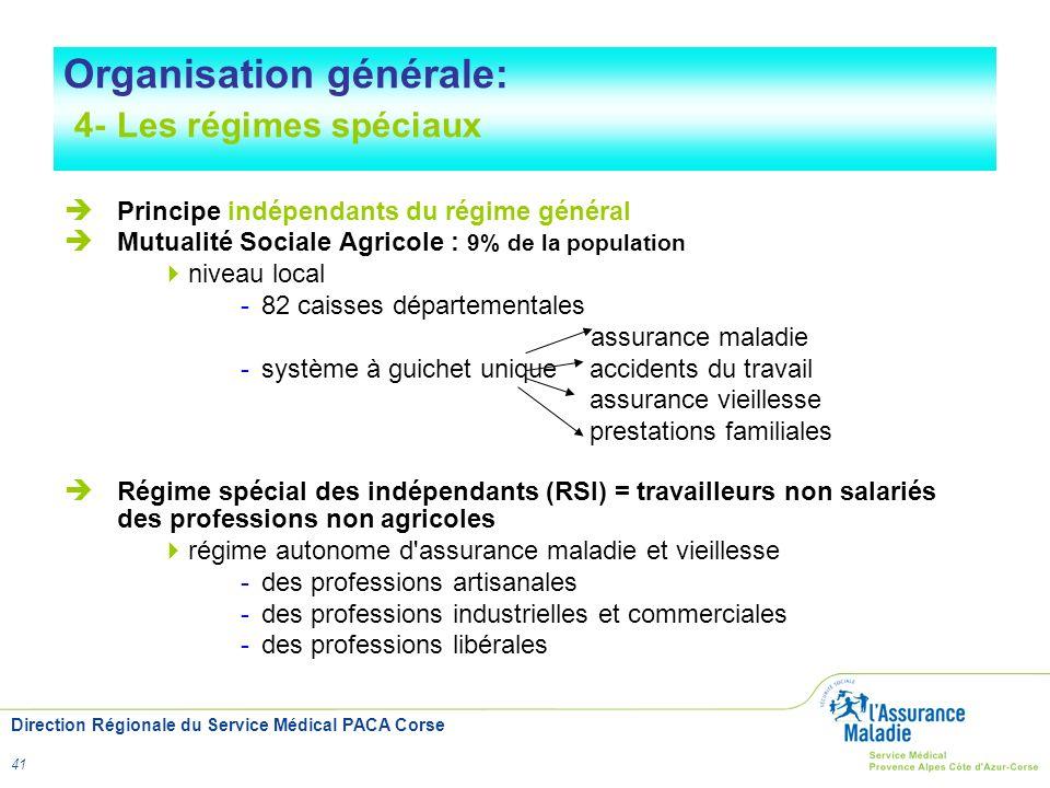 Organisation générale: 4- Les régimes spéciaux