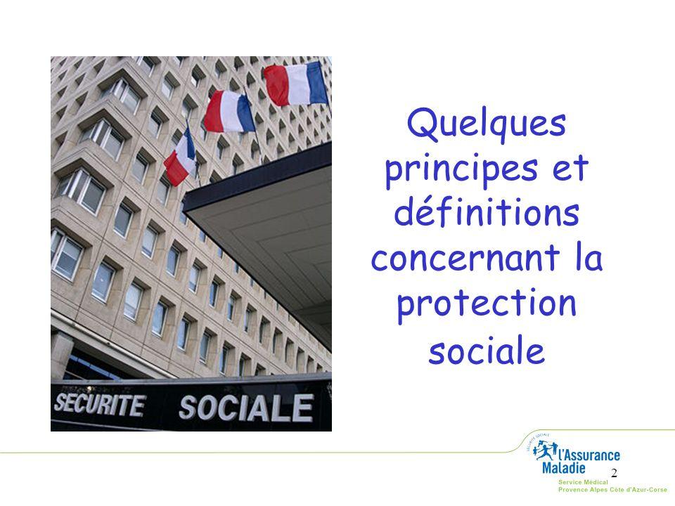 Quelques principes et définitions concernant la protection sociale