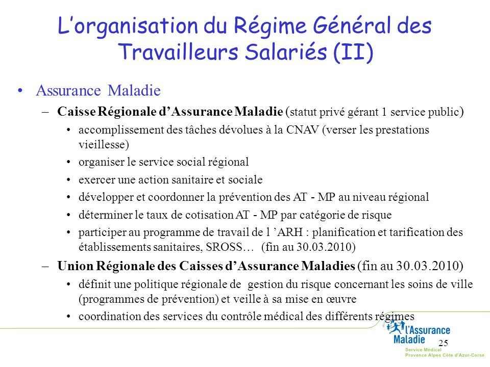 L'organisation du Régime Général des Travailleurs Salariés (II)