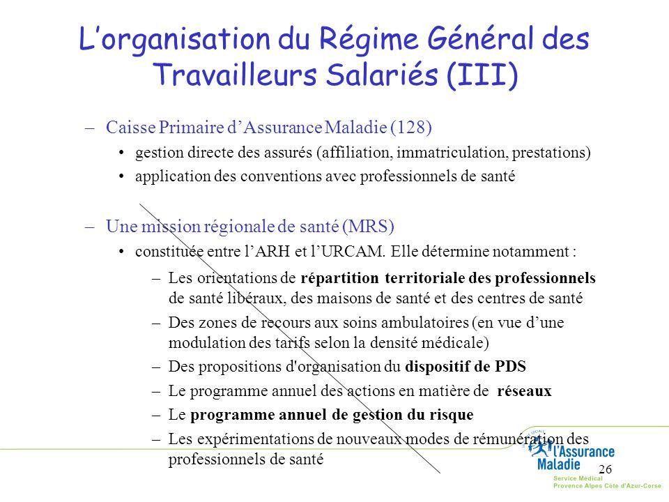 L'organisation du Régime Général des Travailleurs Salariés (III)