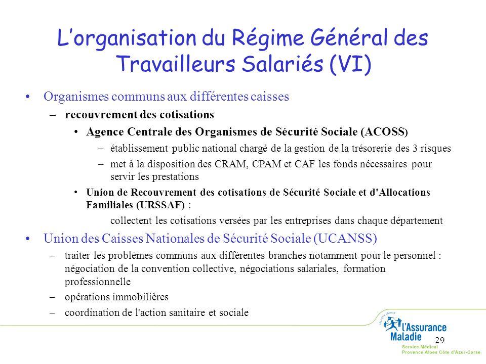 L'organisation du Régime Général des Travailleurs Salariés (VI)