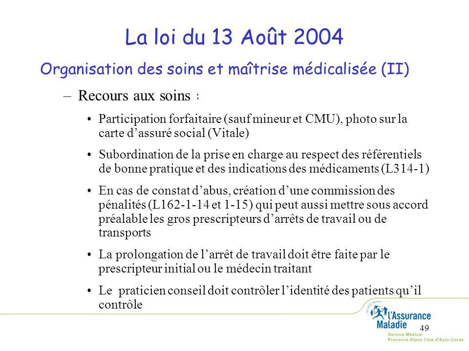 La loi du 13 Août 2004 Organisation des soins et maîtrise médicalisée (II) Recours aux soins :
