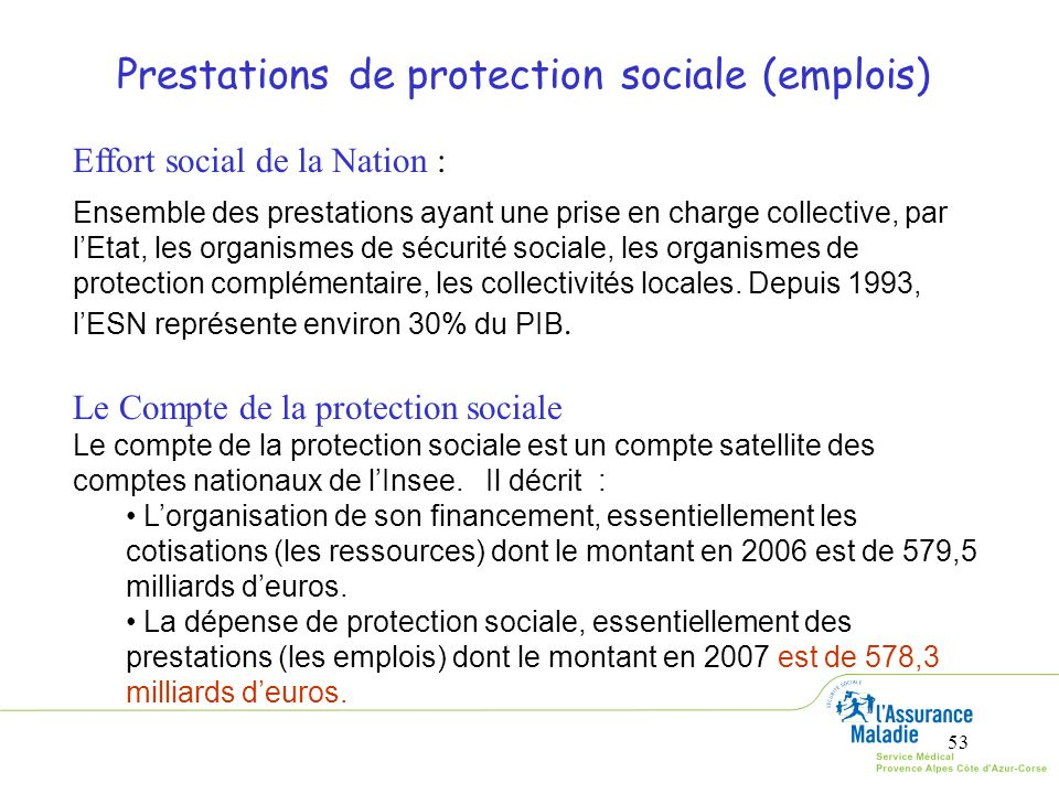 Prestations de protection sociale (emplois)