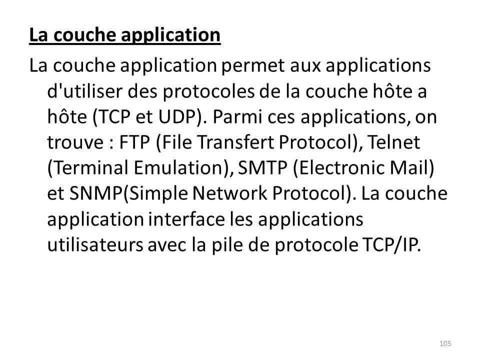 La couche application La couche application permet aux applications d utiliser des protocoles de la couche hôte a hôte (TCP et UDP).