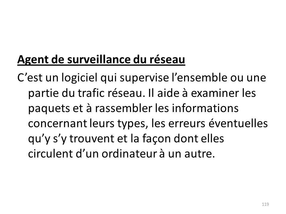 Agent de surveillance du réseau C'est un logiciel qui supervise l'ensemble ou une partie du trafic réseau.