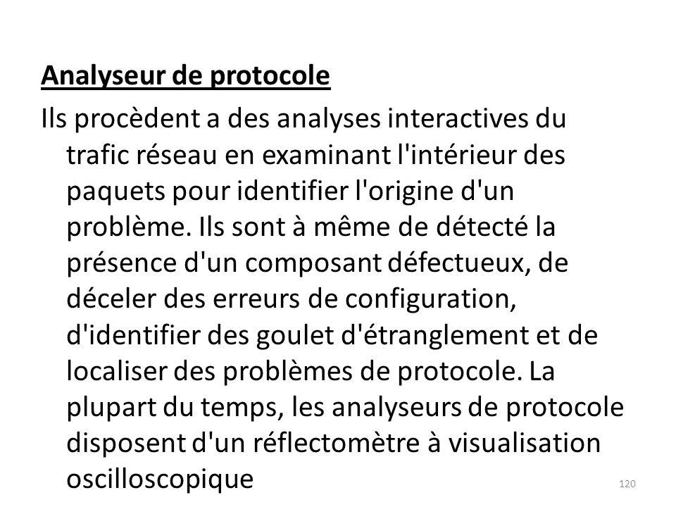 Analyseur de protocole Ils procèdent a des analyses interactives du trafic réseau en examinant l intérieur des paquets pour identifier l origine d un problème.