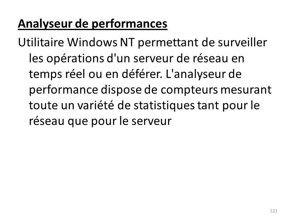 Analyseur de performances Utilitaire Windows NT permettant de surveiller les opérations d un serveur de réseau en temps réel ou en déférer.