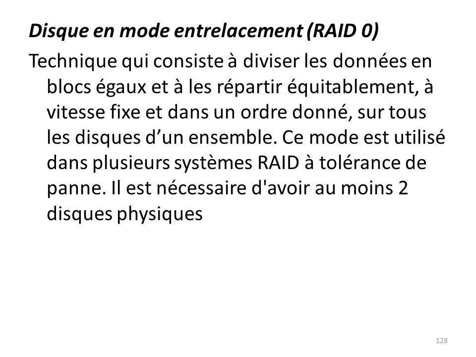 Disque en mode entrelacement (RAID 0) Technique qui consiste à diviser les données en blocs égaux et à les répartir équitablement, à vitesse fixe et dans un ordre donné, sur tous les disques d'un ensemble.