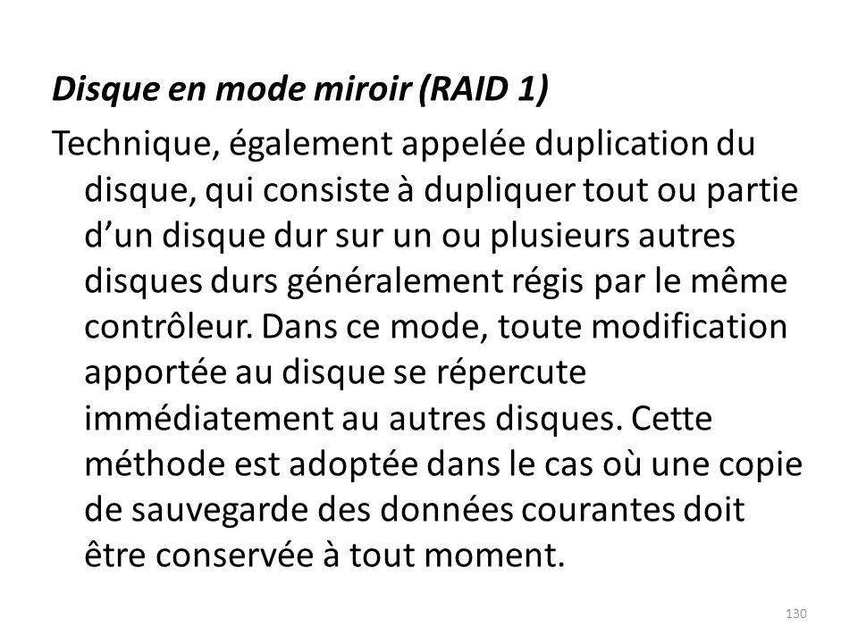 Disque en mode miroir (RAID 1) Technique, également appelée duplication du disque, qui consiste à dupliquer tout ou partie d'un disque dur sur un ou plusieurs autres disques durs généralement régis par le même contrôleur.