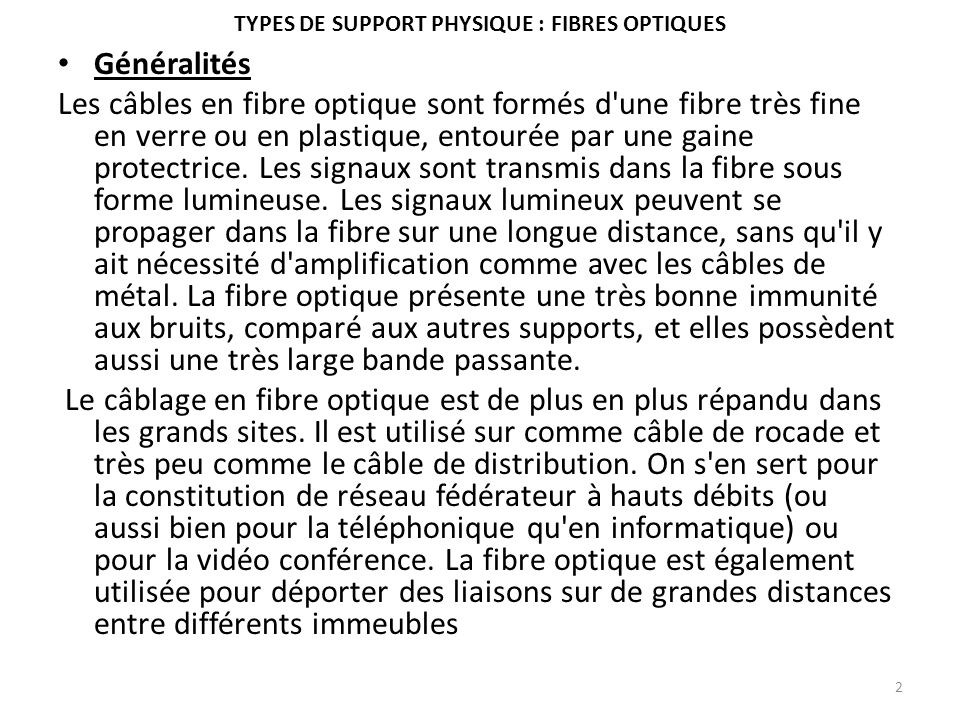 Types de support physique : fibres optiques