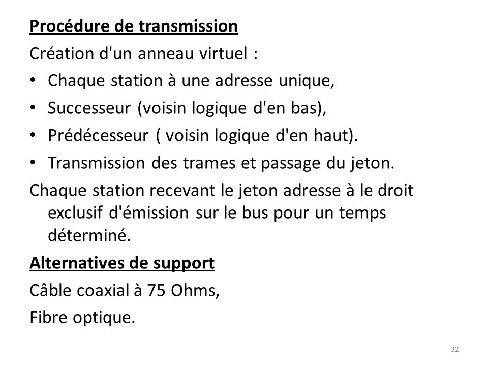 Procédure de transmission