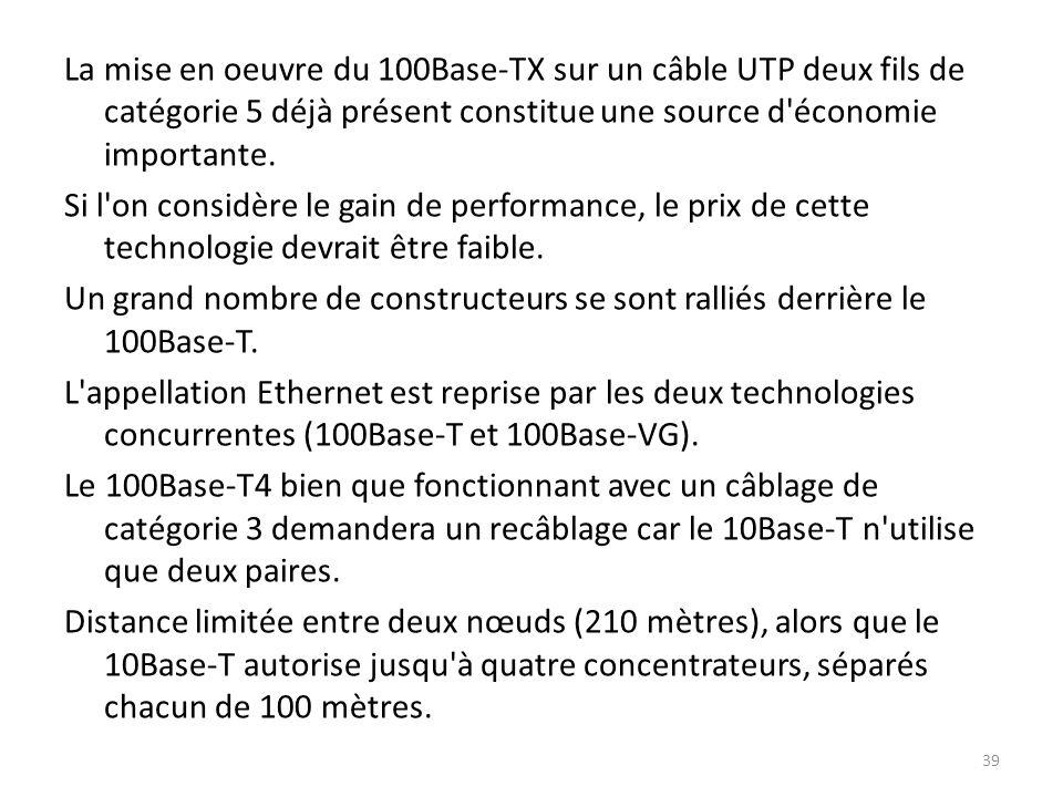 La mise en oeuvre du 100Base-TX sur un câble UTP deux fils de catégorie 5 déjà présent constitue une source d économie importante.