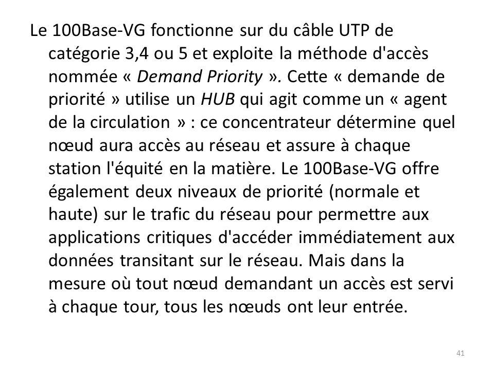Le 100Base-VG fonctionne sur du câble UTP de catégorie 3,4 ou 5 et exploite la méthode d accès nommée « Demand Priority ».