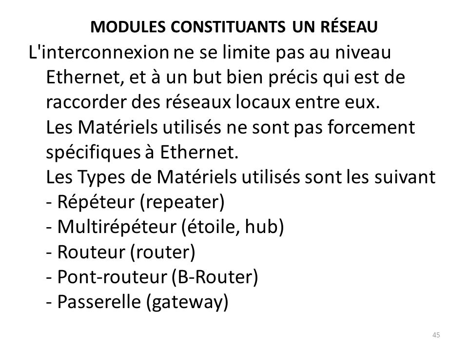 Modules constituants un réseau