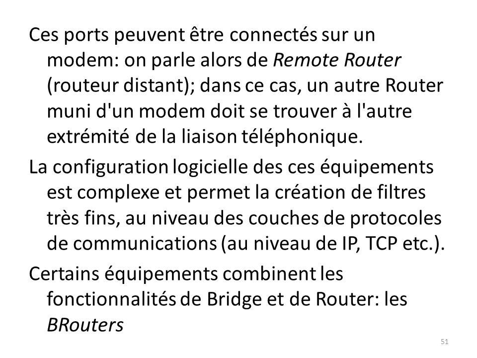 Ces ports peuvent être connectés sur un modem: on parle alors de Remote Router (routeur distant); dans ce cas, un autre Router muni d un modem doit se trouver à l autre extrémité de la liaison téléphonique.