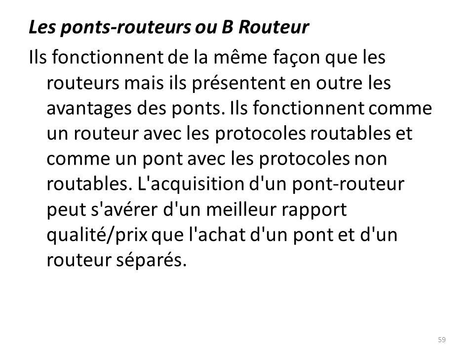 Les ponts-routeurs ou B Routeur Ils fonctionnent de la même façon que les routeurs mais ils présentent en outre les avantages des ponts.