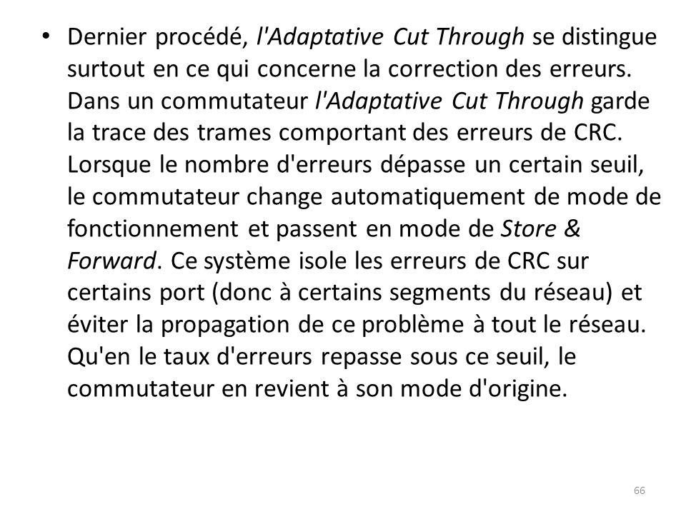 Dernier procédé, l Adaptative Cut Through se distingue surtout en ce qui concerne la correction des erreurs.