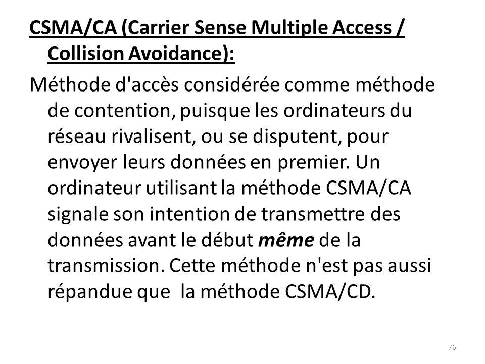 CSMA/CA (Carrier Sense Multiple Access / Collision Avoidance): Méthode d accès considérée comme méthode de contention, puisque les ordinateurs du réseau rivalisent, ou se disputent, pour envoyer leurs données en premier.