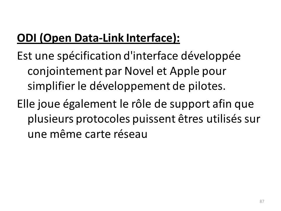 ODI (Open Data-Link Interface): Est une spécification d interface développée conjointement par Novel et Apple pour simplifier le développement de pilotes.