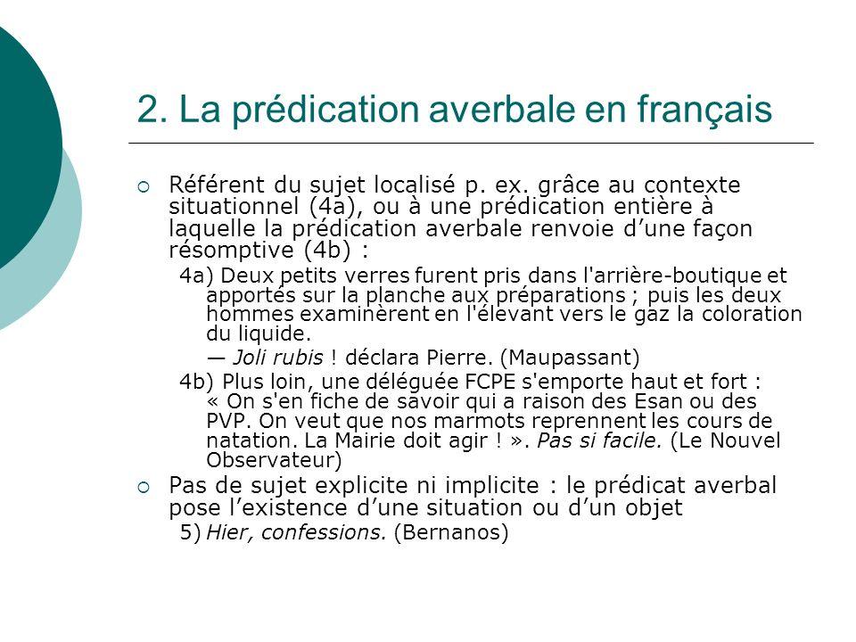 2. La prédication averbale en français