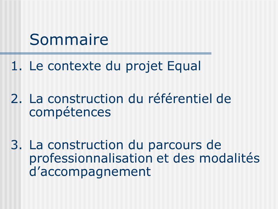 Sommaire Le contexte du projet Equal