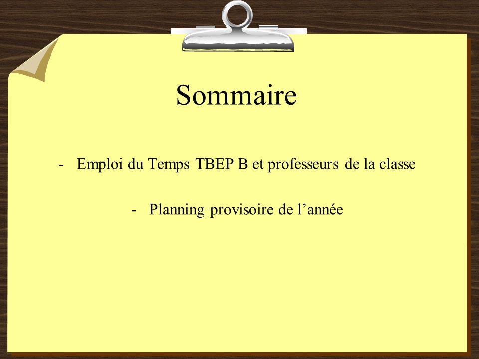 Sommaire Emploi du Temps TBEP B et professeurs de la classe