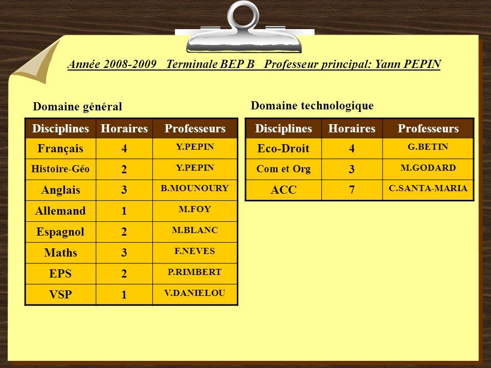 Année 2008-2009 Terminale BEP B Professeur principal: Yann PEPIN