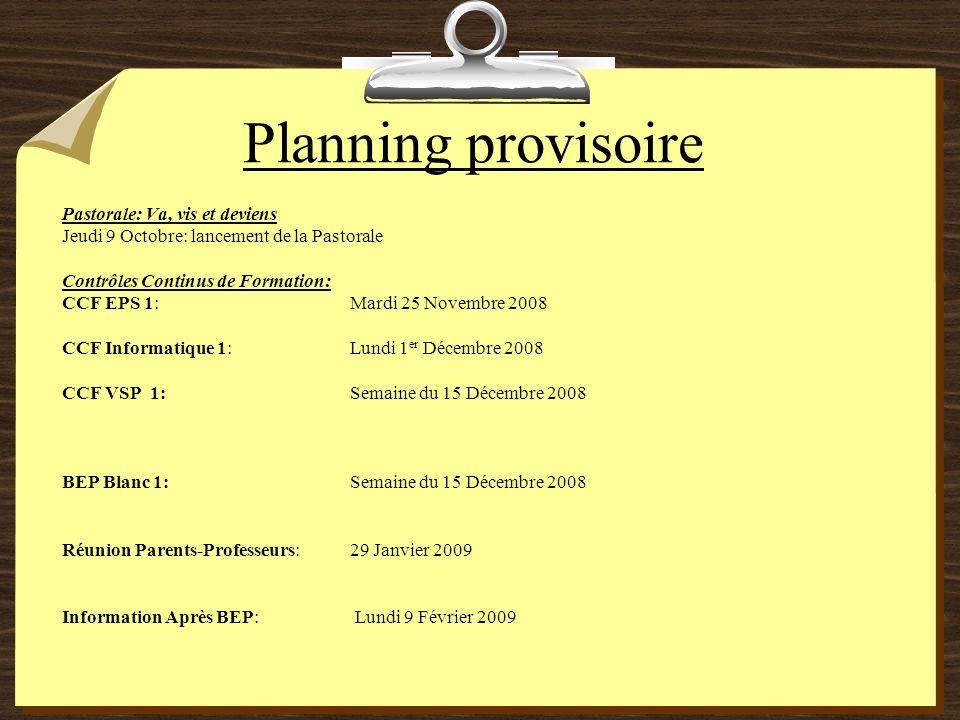 Planning provisoire Pastorale: Va, vis et deviens