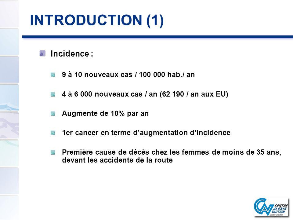 INTRODUCTION (1) Incidence : 9 à 10 nouveaux cas / 100 000 hab./ an