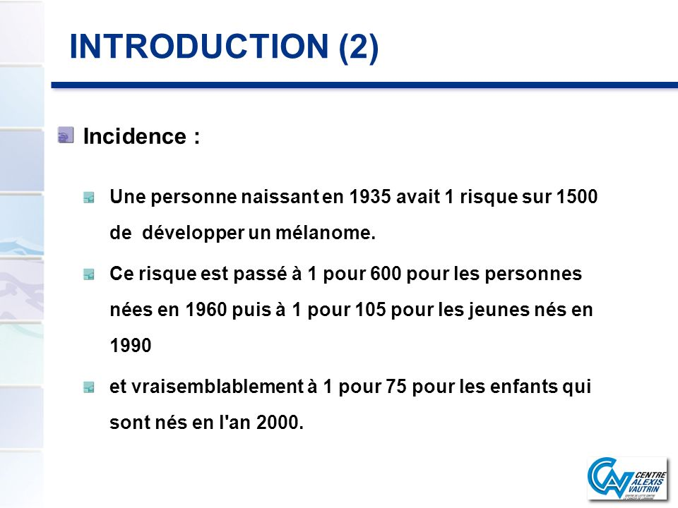 INTRODUCTION (2) Incidence :