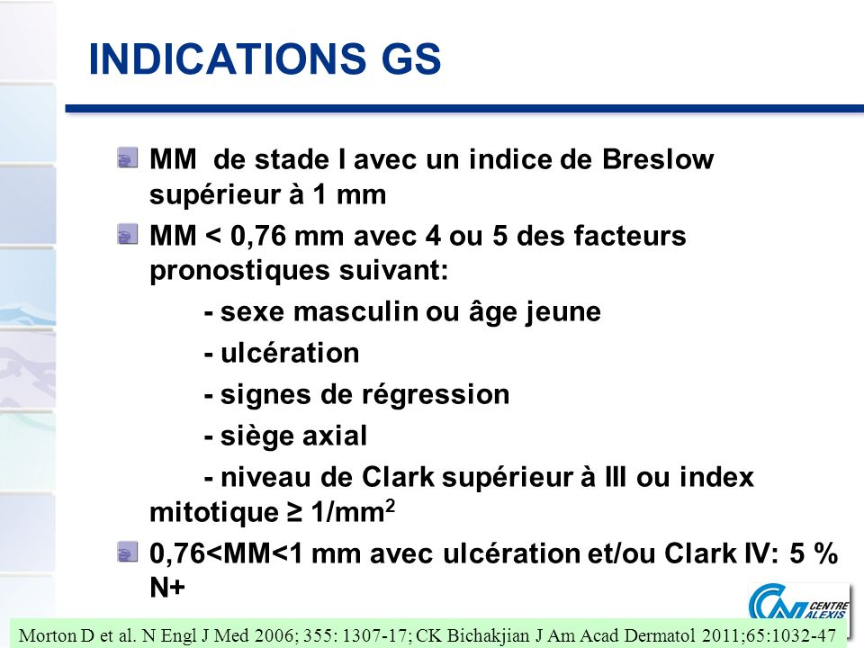 INDICATIONS GS MM de stade I avec un indice de Breslow supérieur à 1 mm. MM < 0,76 mm avec 4 ou 5 des facteurs pronostiques suivant: