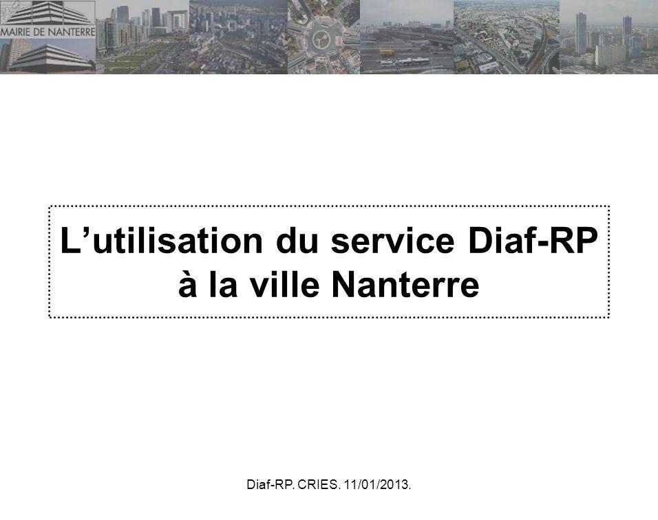 L'utilisation du service Diaf-RP à la ville Nanterre
