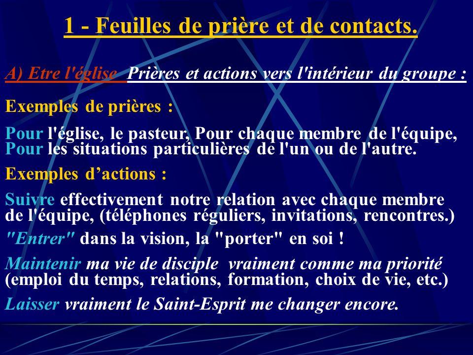 1 - Feuilles de prière et de contacts.