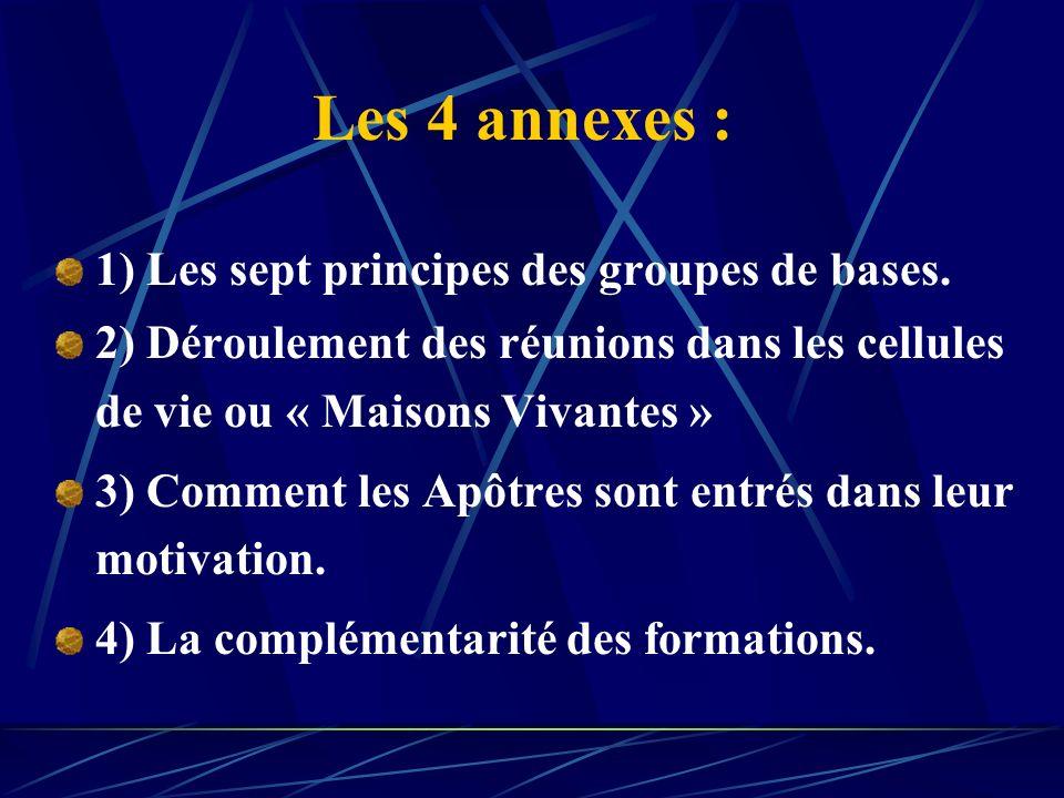 Les 4 annexes : 1) Les sept principes des groupes de bases.