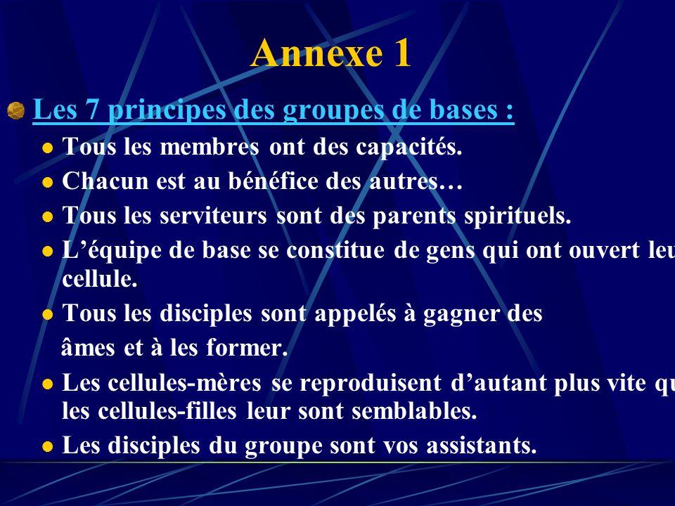 Annexe 1 Les 7 principes des groupes de bases :