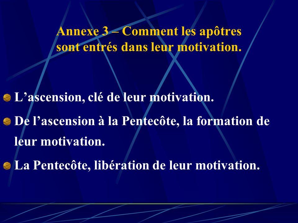 Annexe 3 – Comment les apôtres sont entrés dans leur motivation.