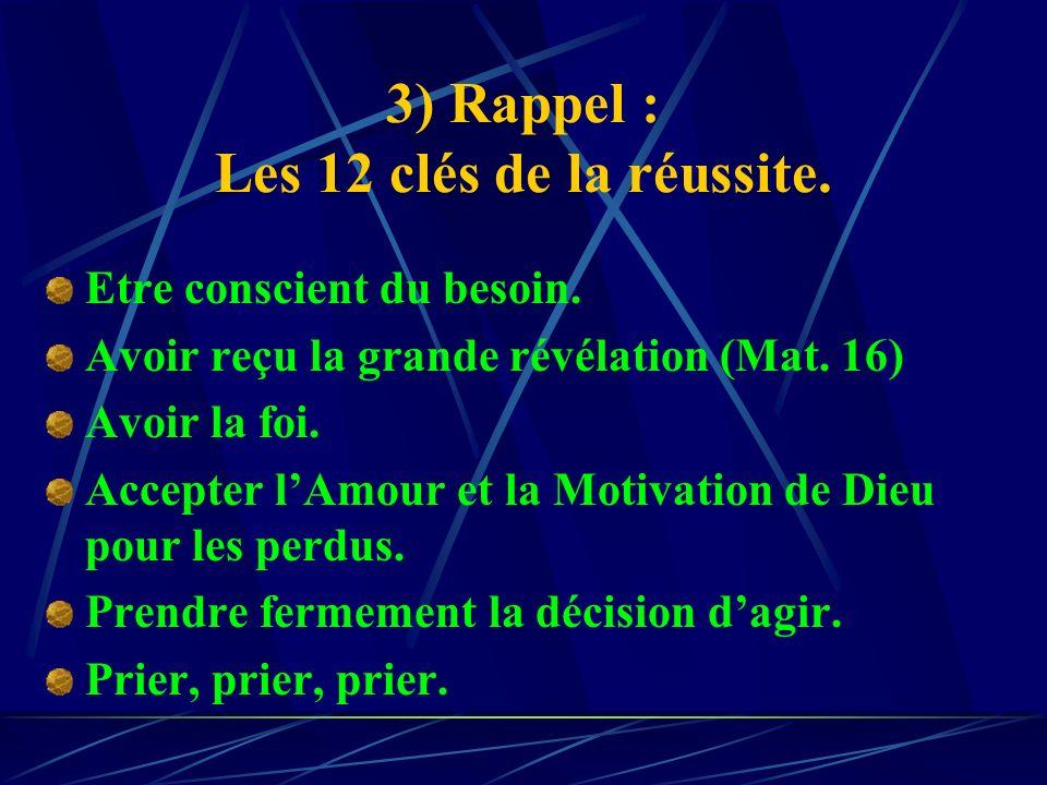 3) Rappel : Les 12 clés de la réussite.